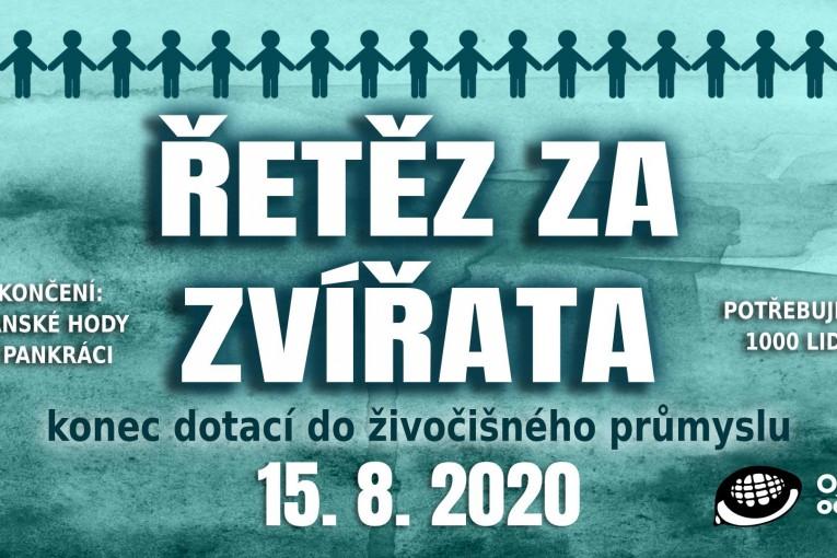 Řetěz za zvířata - konec dotací do živočišného průmyslu (Praha)