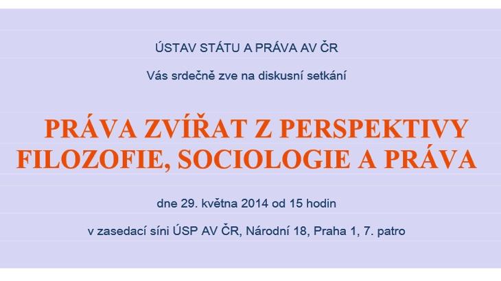 Práva zvířat z perspektivy filozofie, sociologie a práva (Praha)