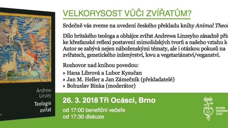 Velkorysost vůči zvířatům? Rozhovor nad knihou A. Linzeyho (Brno)